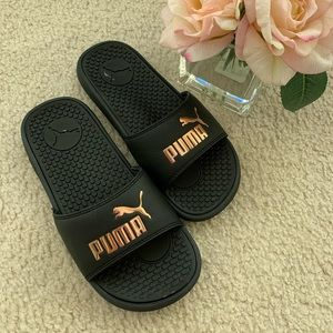 New Puma Rubber Black Bronze Flip Flop Slippers 6